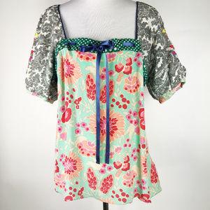 Fei Anthropologie Floral Retro Silk Peasant Top